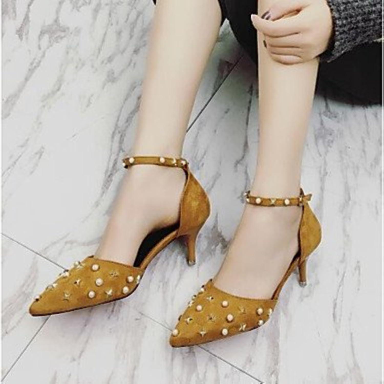 LvYuan-ggx Damen High Heels Komfort Nubukleder PU Frühling Normal Komfort Schwarz Gelb Armeegrün Flach
