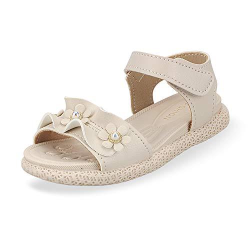 Sandalias con Punta Abierta para Niñas Pequeñas Niño Infantiles Zapatos de Vestir Calzado Verano para 1-6 Años (Beige, EU 21)