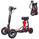 Adulto plegable Mini eléctrico triciclo, asientos dobles / Generación de edad y los discapacitados Vespa 500W de potencia del motor de carga 150Kg -3 variable Kilometraje máxima de 18-Milla,Rojo