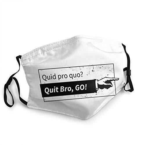 Adult dust Cloth face Masks Quid pro quo Quit bro, Go! Washable Reusable Breathable Fashionable Adjustable Black