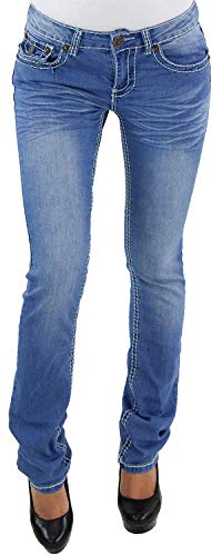 Vaqueros de Mujer Pantalones de Cintura Pierna Recta Grueso Costura Corte Recto Boot-Cut Azul - 90-3, XXL