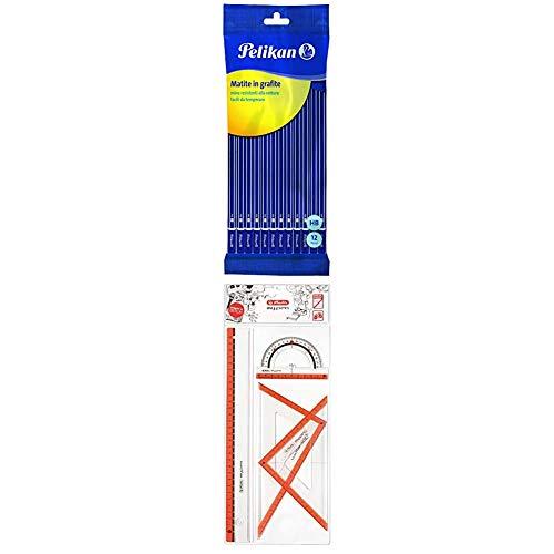 Pelikan 12 Lápices de grafito HB + Juego de geometría