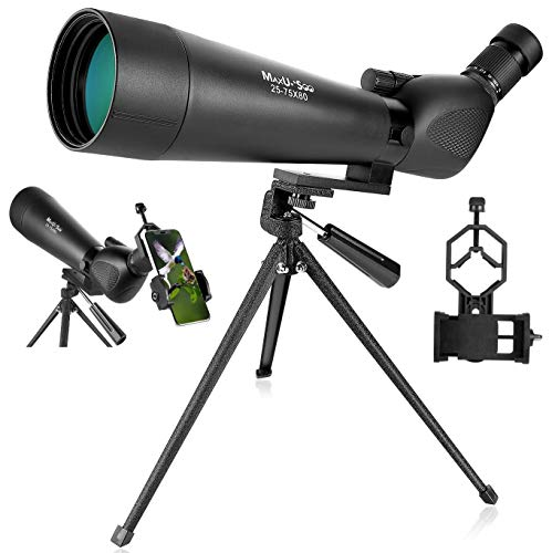 Learn More About MaxUSee 25-75x80 Zoom HD Spotting Scope with Tripod, Waterproof Scope with Carrying...