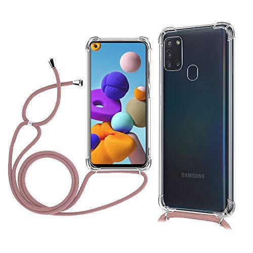 TOPACE Hülle mit Lanyard für Samsung Galaxy A21s, [Ultra Dünn] [Stoßfest] Klar Weiche TPU Schutzhülle für das Samsung Galaxy A21s(Gold)