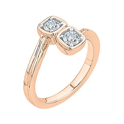 KATARINA Diamond Bypass Curved Fashion Ring in 14k Rose Gold (3/4 cttw, J-K, SI2-I1) (Size-8)