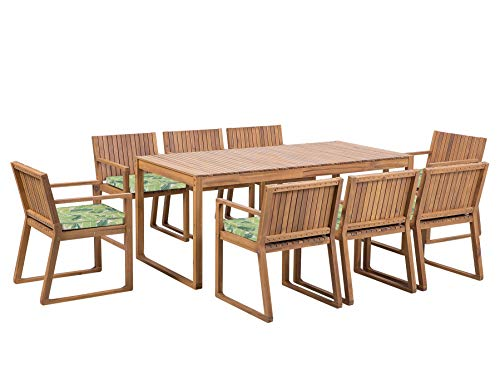 Beliani Outdoor Garden Acacia Wood Dining Set Table 8 Chairs Green Cushions Sassari