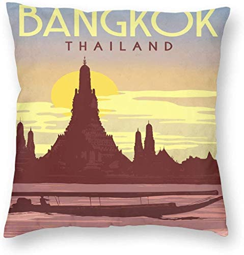 BONRI Vintage Stijl Bangkok Thailand Reisposter Kussensloop Uniek Sierkussen Cover Creatieve Kussens Gevalhoezen met Rits Home Decoratieve Print Kussensloop voor Sofa Couch (45x45cm)