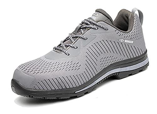 Zapatos de Seguridad para HombresZapatos de Trabajo Ligeros conPunta de AceroZapatillas industriales Transpirables Zapatillas de Deporte con Punta de Acero Botas Ligeras 39 Ash
