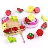 Zubehör Kinderküche Schneidebrett Holz mit Früchten Schneiden Obst Gemüse Lebensmittel Holzspielzeug Rollenspiele Küchenspielzeug für Kinder ab 3 4 5 Jahr Junge Mädchen (21 Pcs)
