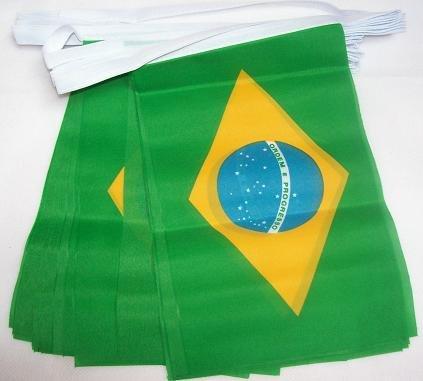 AZ FLAG Guirnalda 4 Metros 20 Banderas de Brasil 15x10cm - Bandera BRASILEÑA 10 x 15 cm - BANDERINES