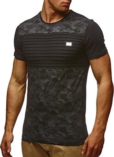 Leif Nelson Herren Sommer T-Shirt Rundhals-Ausschnitt Slim Fit Baumwolle-Anteil Moderner Männer T-Shirt Crew Neck Hoodie-Sweatshirt Kurzarm lang LN405 Schwarz Medium