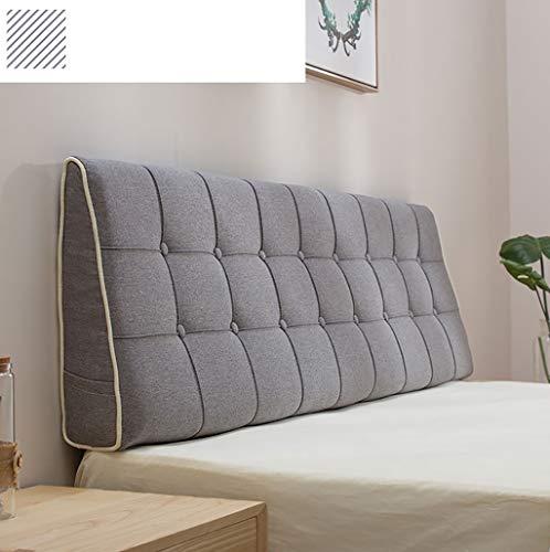 Headboard Cushion wigvormige kussen hoofdeinde wandkussen linnen stof lendenkussen ademend afneembare overtrek wasbaar 7 maten 5 kleuren (90-200 x 15 x 50 cm) zachte bank
