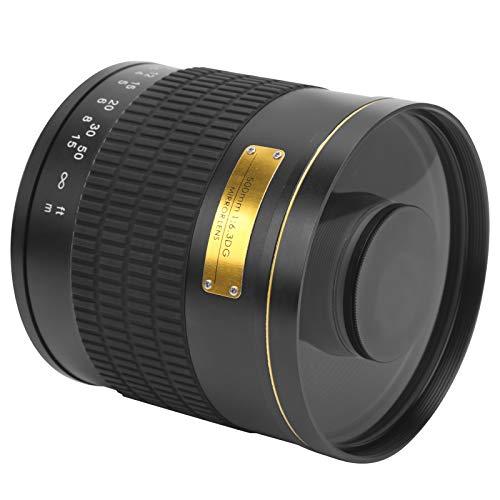 Zunate Tele-Spiegelobjektiv, Legierung 500 mm F6.3 Manueller Fokus Telezoom-Objektiv mit Adapterring für Olympus M4 / 3-Mount-Kamera, für Vogelbeobachtungslandschaften(schwarz)