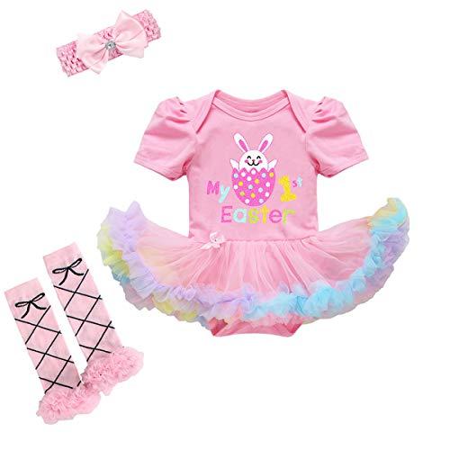 Conjunto de ropa para bebé niña de 1ª Pascua con estampado de conejo, tutú + diadema + calentador de piernas, 3 piezas, juego de ropa para tarta de cumpleaños
