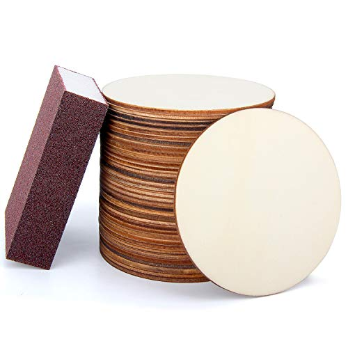 Blisstime 36 PCS 4 Inch Unfinished Wood Circles Round Slices with Sanding Sponge Wood Drink Coasters for Painting, Writing, diy Supplies, Engraving and Carving, Home Decorations