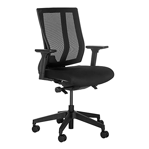 Vari Task Chair - Adjustable Office Chair with Armrests & Rolling Casters - Comfortable Mesh Back with Maximum Lumbar Support - Easy Assembly (Black)