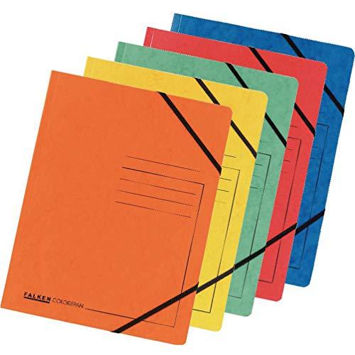 Original Falken 5er Pack Premium Eckspanner-Mappe. Made in Germany. Aus extra starkem Colorspan-Karton DIN A4 mit 2 Gummizügen farbig sortiert Sammelmappe ideal für Büro und Schule
