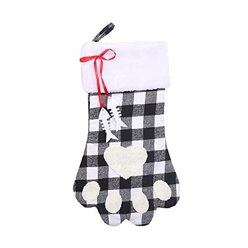 CYGG DirkFigge - Bolsa de Regalo Grande para calcetín de Navidad, a Cuadros, con Forma de Pata de...