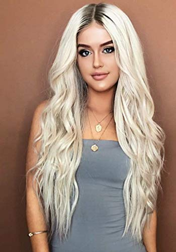 GNIMEGIL Long Wavy Full Wigs Ombre Black to Platinum Blonde Mix Two Tone Dyeing Color Synthetic Hair Wig for Women (Wig Head Circumference Size is 20-24 inches)