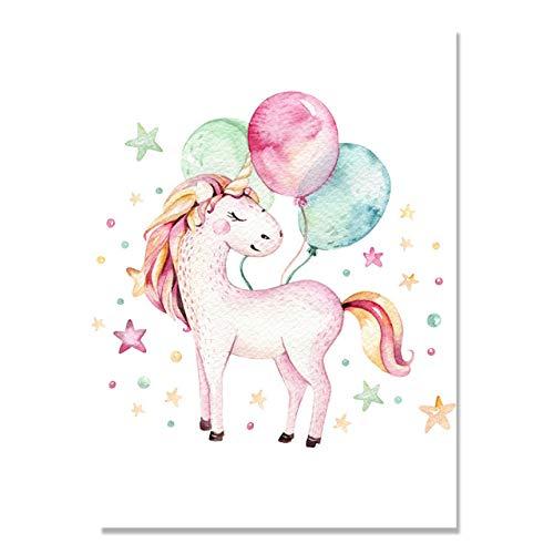 Nettes rosa Einhorn mit Luftballons hinten, nordisches Cartoon-Leinwandplakat, Kinderzimmerdekoration, rahmenlos-40x50cm