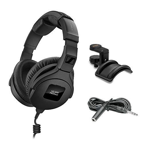 Sennheiser HD 300 Pro Headphones, Black with Headphone Holder & Stereo 1/4' Male Phone TRS Headphone Extension Cable 10'