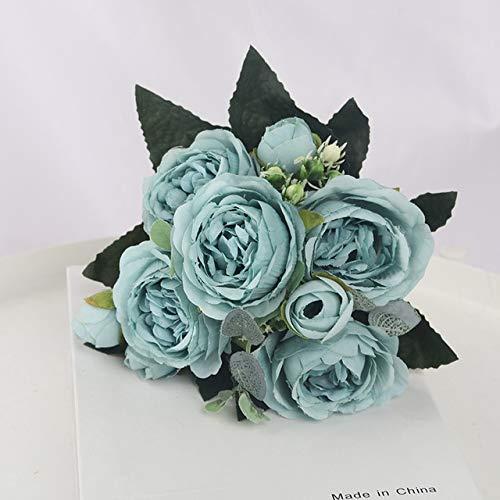 1 Bouquet 9 têtes Fleurs Artificielles Pivoine Thé Rose Automne Soie Faux Fleurs pour DIY Salon Maison Jardin Décoration De Mariage - Bleu