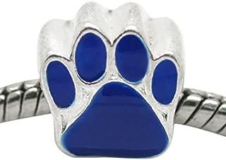 Buckets of Beads Blue Paw Charm Bead Fits Most Major Womens and Girls Charm Bracelets Troll Biagi Zable