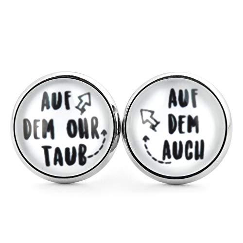 SCHMUCKZUCKER Damen Herren Unixex Ohrstecker Spruch Motiv Auf dem Ohr taub Witzige Edelstahl Ohrringe Silber Weiß 14mm