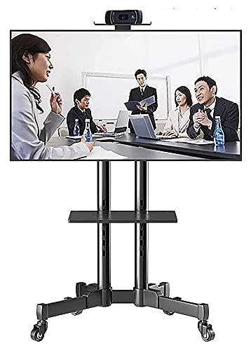 TabloKanvas Soporte de TV móvil inclinable con 2 ruedas de almacenamiento con ruedas con cerradura, altura ajustable (color negro)