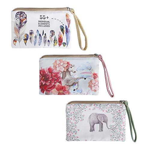 Monedero Carteras de Lona para Mujer Bolso de Mano con Cremallera con Estampado de Elefante para Llaves, Móvil, Barra de Labios, Tarjeta, Niñas Regalo para Navidad (3 Piezas)