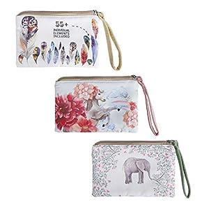 Monedero Carteras de Lona para Mujer Bolso de Mano con Cremallera con Estampado de Elefante para Llaves, Móvil, Barra de…