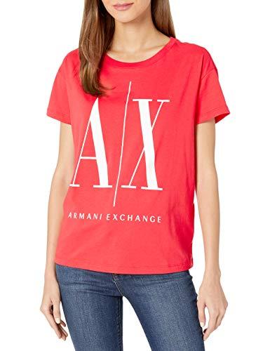 Armani Exchange Icon Project Logo Boyfriend Fit Crewneck tee Camiseta, Weiß/Dresden Blau, M para Mujer