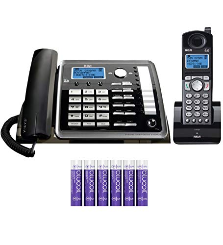 RCA 25255RE2 2-Line Phone System with Digital Answering System - Corded Speakerphone and DECT 6.0 Cordless Handset Bundle with Blucoil 6 AAA Batteries