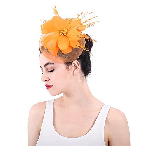 LTH-GD Gorra de Invierno y Sombrero Sombrero del fascinador de la Pinza de Pelo de la Flor Amarilla Neta de la Malla de Las Mujeres for Casarse el cóctel Derby