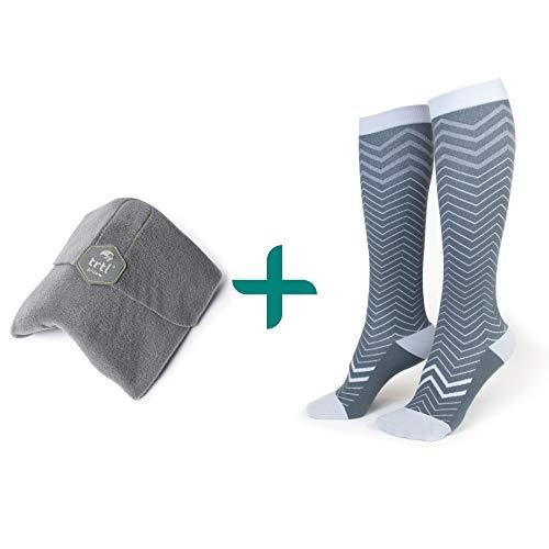 trtl Pillow & Trtl Socks Bundle - Scientifically Proven Super Soft Neck Support Travel Pillow & Trtl...