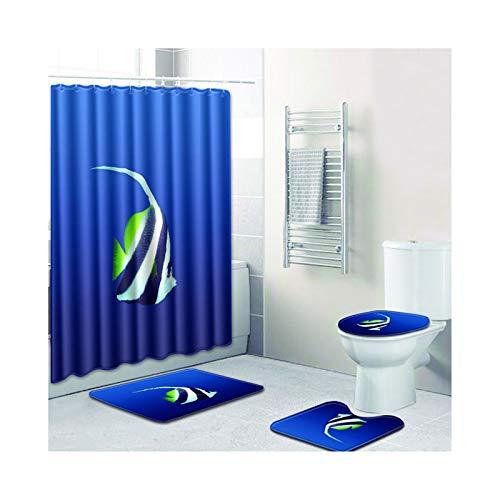 MaxAst Badewanne Vorhang Badteppich 4 Set Fisch Blau Badewanne Vorhang 180X180 Duschvorleger Set 50x80