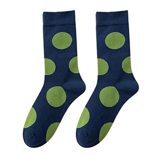 XBRTFH Happy Socks Hombres/Mujeres Tobillo Alto Muti Color Round Wave Point Calcetines Moda Algodón Pareja Calcetines Largos para Monopatín