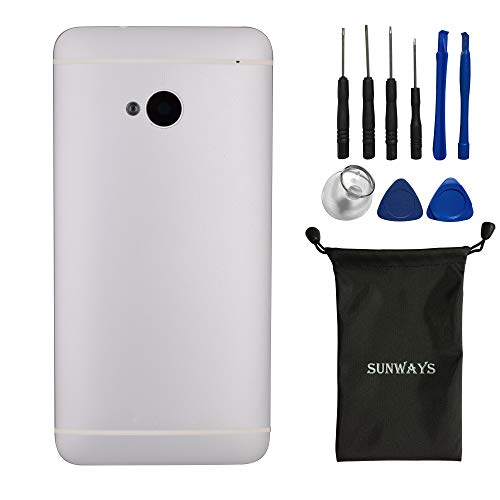Sunways Akku-Gehäuse mit Rückkamera-Glaslinse, Lautstärkeregler und Power-Button für HTC One M7 801e 801n 801c 801s (metallisches Material) silberfarben