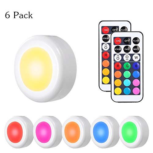 Tomshine 6er Schrankleuchten LED Nachtlicht mit Fernbedienung RGBW Dimmbar 13 Farben Kabinett Beleuchtung Batteriebetrieben für Flur Schlafzimmer Innendekoration Kleiderschrank