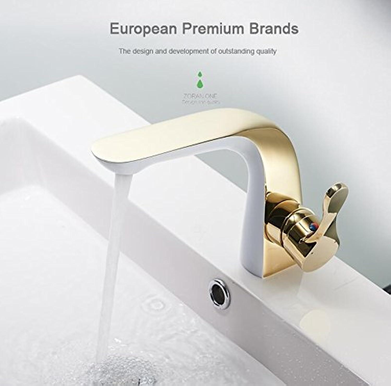 MangeooNeues Design Messing verGoldet Badezimmer Leitungswasser einzigen Griff einzelne Bohrung Bad Armatur