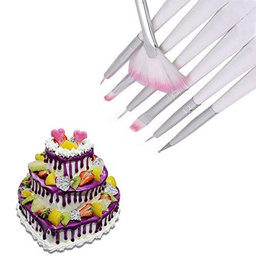 7 pinceles para decoración de tartas de fondant para decoración de pintura y decoración de repostería