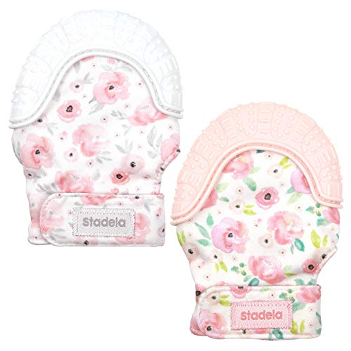 Stadela Baby Soothing Teething Mittens, Food Grade Silicone Teether Toy with Travel Bag for Girl, Baby Shower Gift, Set of 2, Floral Watercolor Flowers Boho, Pink and Gray (Sweet Roses)
