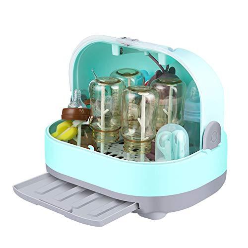 DUTUI Tragbare Schiebeabdeckung Baby Und Kindermilchflasche Aufbewahrungsbox Box Wäscheständer Abflussbecher Geschirr Liefert Aufbewahrung,Blau