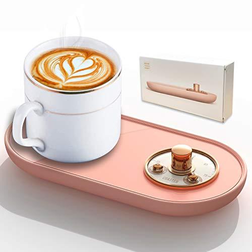 HEYPORK USB Getränkewärmer mit On Off Schalter, Elektrische Kaffeewärmer Pad, Tassenwärmer Geschenk für Kaffee Milch Tee Wasser Büro Hause Kaffeeliebhaber, Rosa