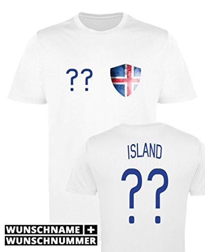 Comedy Shirts - Island Trikot - Wappen: Klein - Wunsch - Jungen Trikot - Weiss/Royalblau Gr. 152-164