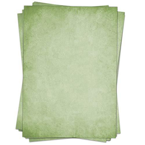 50 Blatt im Set: Farbiges Briefpapier Altes Papier Vintage grün- DIN A4 - beidseitig