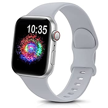 TreasureMax Sport Band Compatible with Apple Watch Bands 38mm 40mm 42mm 44mm Soft Silicone Replacement Strap Compatible for Apple Watch Series 6 5 4 3 2 1 SE Men Women Grey 38MM/40MM