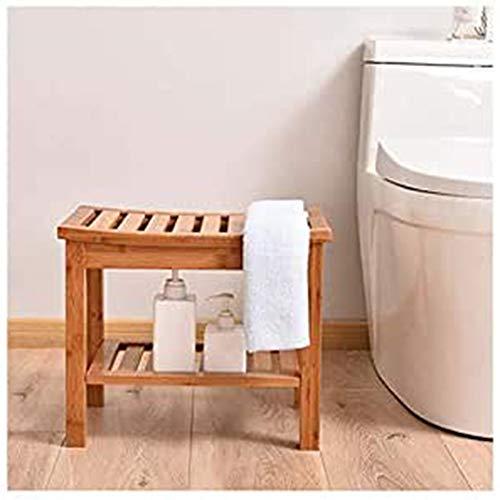 SETSCZY Bambus-Duschsitzhocker, Badesicherheitssitze, wasserfeste rutschfeste Last bis zu 200 kg Geeignet für ältere Menschen, Schwangere Frauen, Behinderte