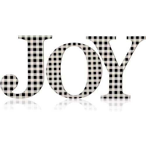 3 Pieces Christmas Joy Letter Sign Buffalo Check Plaid Letter 12 Inch Wooden Large Joy Sign Rustic Wood Letter Ornaments for Front Door Christmas Holiday Indoor Outdoor Home Decor (Black and White)