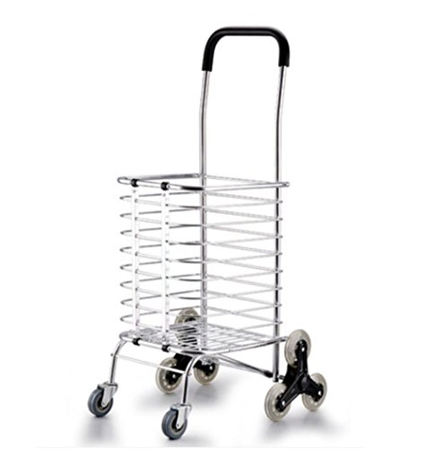 LUCKYYAN Lightweight Foldaway Aluminum alloy 8 Wheel Shopping Trolley,Removable Shopping Bags